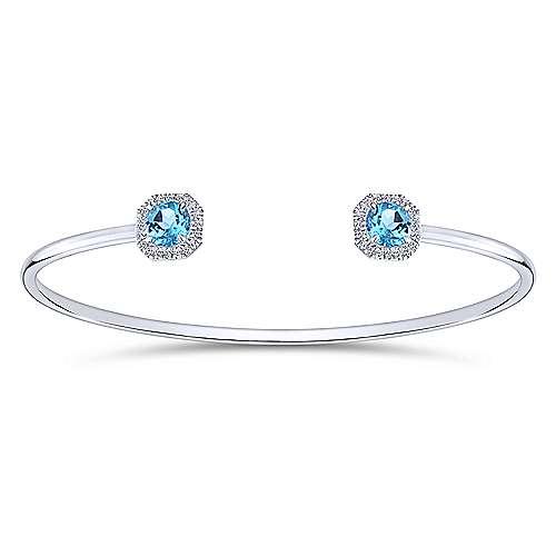 14K White Gold Diamond & Blue Topaz Bangle