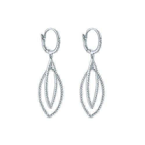14K White Gold Diamond Earrings angle 2