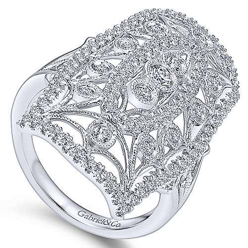 14K White Gold Diamond Ring angle 3