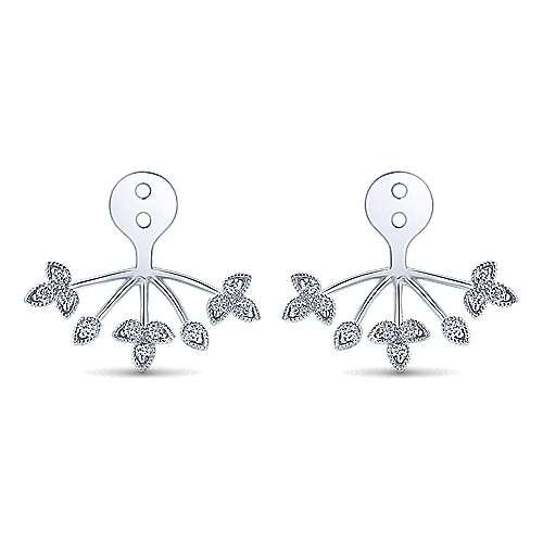 14K White Gold Diamond Sprig Enhancer Earrings