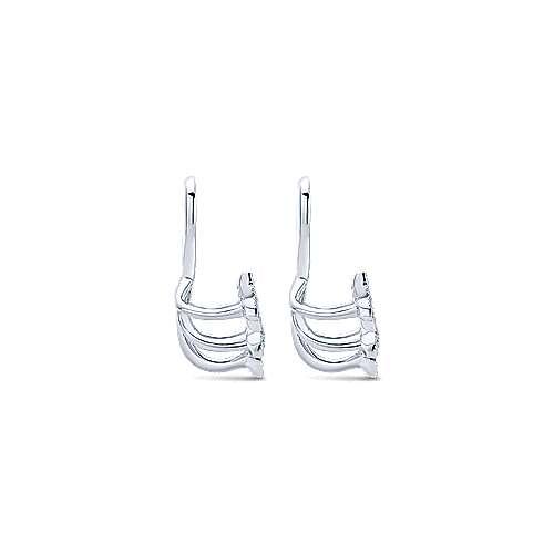14K White Gold Diamond Sprig Enhancer Earrings angle 3