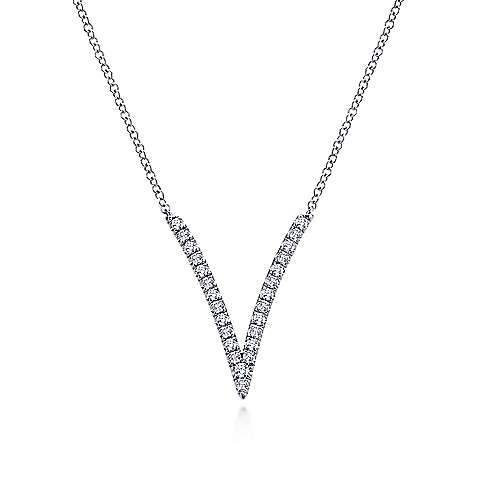 14K White Gold Diamond V Pendant Necklace