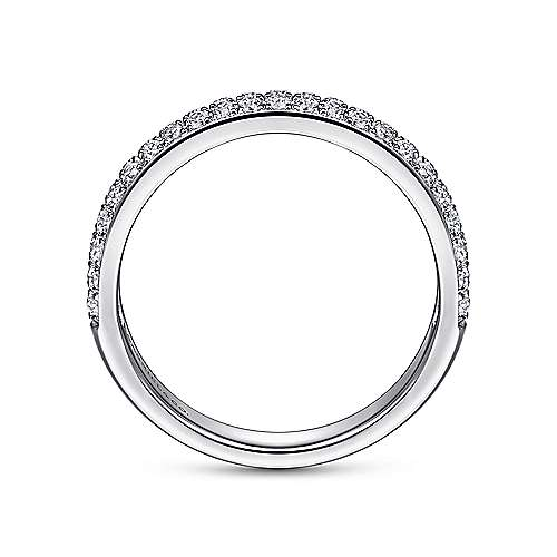 14K White Gold Double Rows Contemporary Micro Pave Straight  Diamond Band angle 2