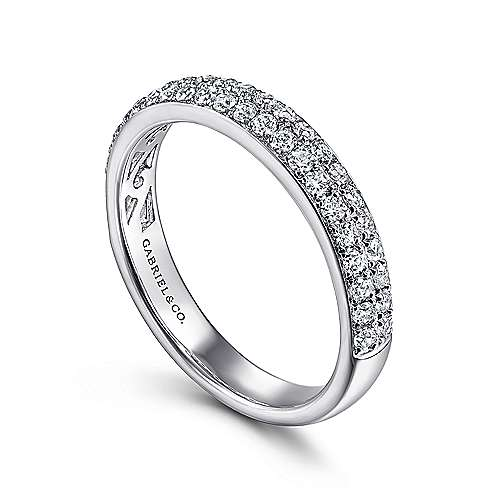 14K White Gold Double Rows Contemporary Micro Pave Straight  Diamond Band angle 3