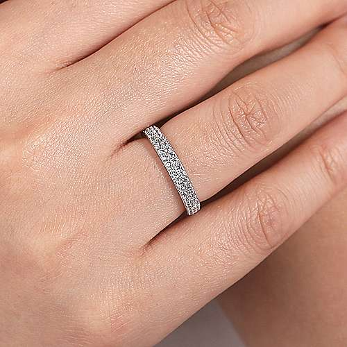 14K White Gold Double Rows Contemporary Micro Pave Straight  Diamond Band angle 5