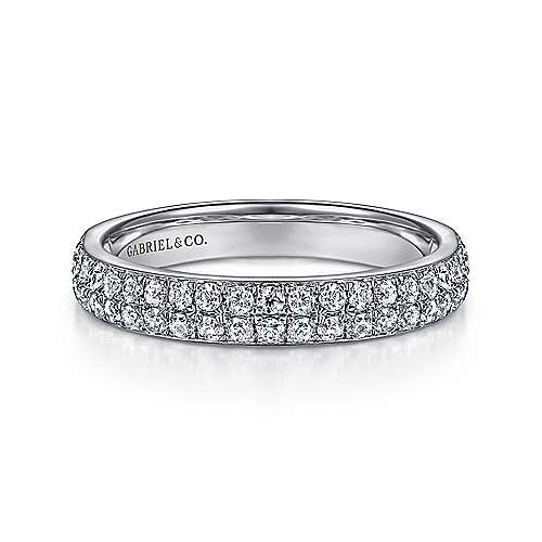 14K White Gold Double Rows Contemporary Micro Pave Straight Diamond Band