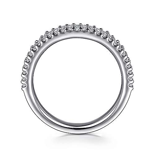 14K White Gold Double Rows Contemporary Tiger Claw Fancy  Diamond Band angle 2