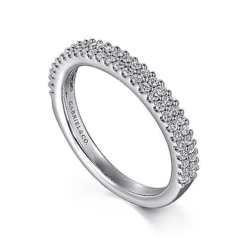 14K White Gold Double Rows Contemporary Tiger Claw Fancy  Diamond Band angle 3