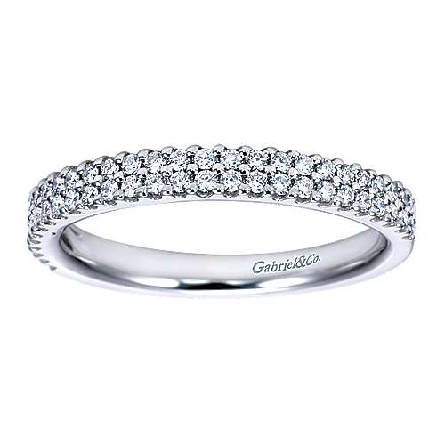 14K White Gold Double Rows Contemporary Tiger Claw Fancy  Diamond Band angle 5