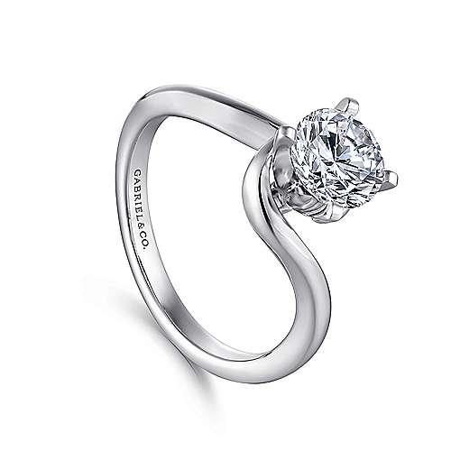 14K White Gold Engagement Ring angle 3