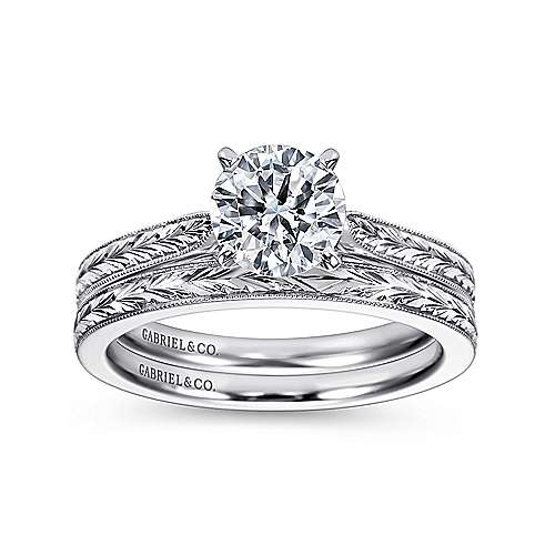 14K White Gold Engagement Ring angle 4
