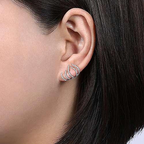 14K White Gold Fashion Earrings angle 2