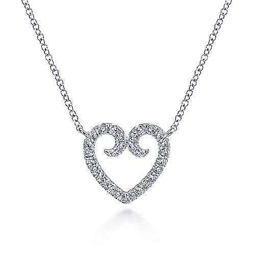 Gabriel - 14k White Gold Eternal Love Heart Necklace