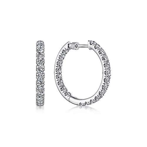 Gabriel - 14K White Gold French Pave  20mm Round Inside Out Diamond Hoop Earrings