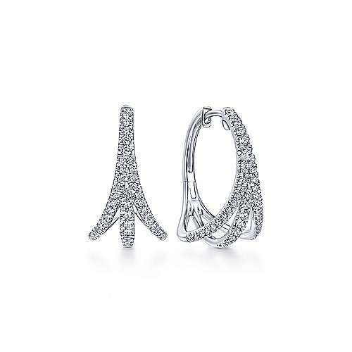 14K White Gold French Pave  20mm Triple Split Diamond Hoop Earrings