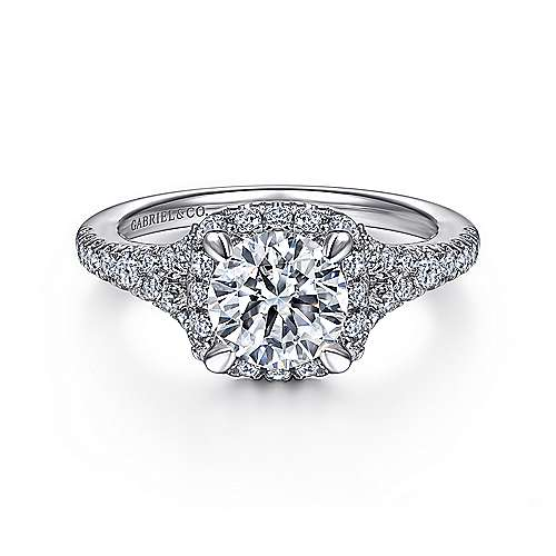 Gabriel - 14K White Gold Halo Round Diamond Engagement Ring
