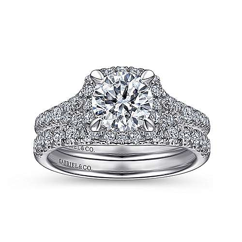 14K White Gold Halo Round Diamond Engagement Ring