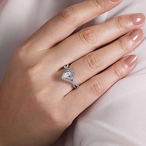 14k White Gold Pear Shape Halo Diamond Engagement Ring Er7804p4w44jj Gabriel Co