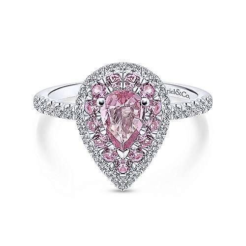 ba1c096a906714 14K White Gold Pear Shape Halo Pink Sapphire and Diamond Engagement Ring