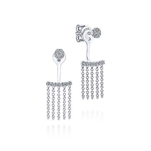 14K White Gold Peek A Boo Chain Fringe Diamond Earrings