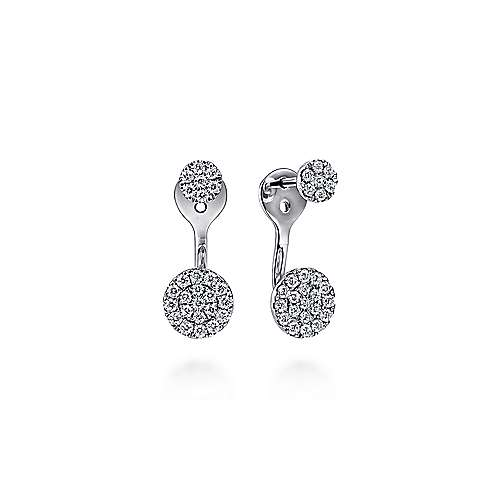 Gabriel - 14K White Gold Peek A Boo Circle Diamond Earrings