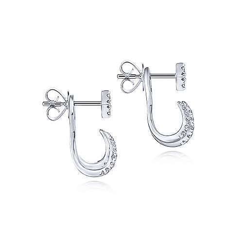 8de6d69fe 14K White Gold Peek A Boo Kite and Curved Diamond Bar Earrings ...