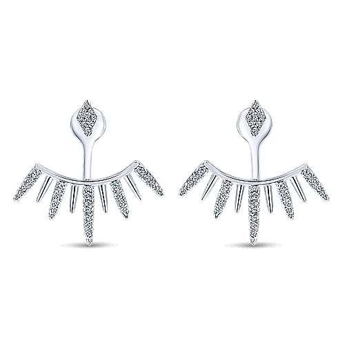 95ea666c8 Gabriel - 14K White Gold Peek A Boo Kite and Curving Diamond Fan Earrings