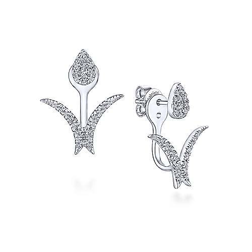 14K White Gold Peek A Boo Pear Shaped Floral Diamond Earrings