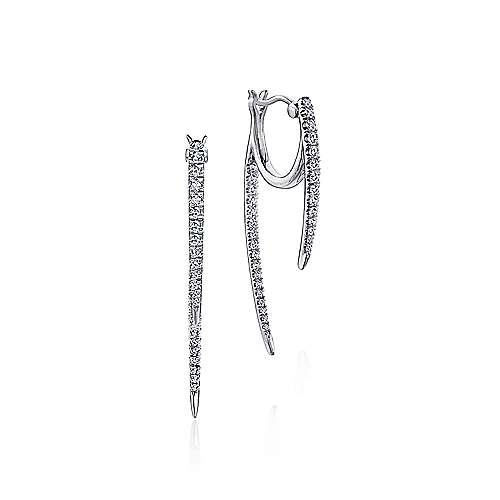 14K White Gold Peek A Boo Petal Diamond Earrings