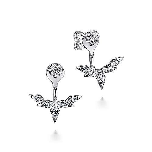 14K White Gold Peek A Boo Round and Branching Diamond Earrings