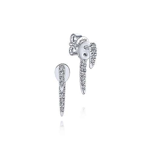 14K White Gold Peek A Boo Vertical Bar Diamond Earrings