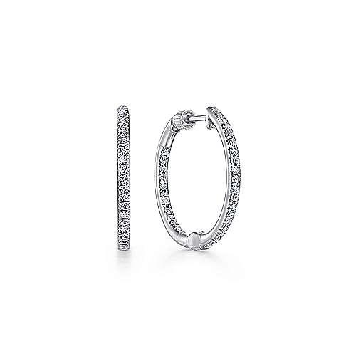 Gabriel - 14K White Gold Prong Set  20mm Round Classic Diamond Hoop Earrings