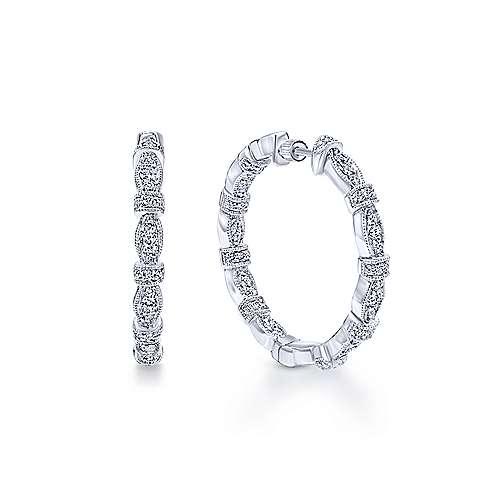 14K White Gold Prong Set  25mm Round Classic Diamond Hoop Earrings