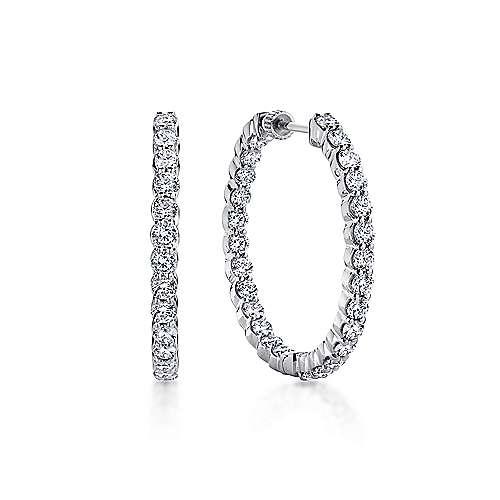 14K White Gold Prong Set  30mm Round Inside Out Diamond Hoop Earrings