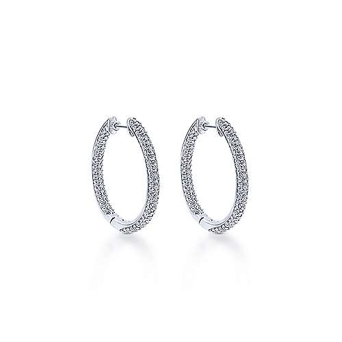 14K White Gold Prong Set  30mm Round Inside Out Diamond Hoop Earrings