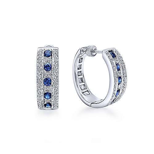 14K White Gold Prong Set/Channel  20mm Round Classic Diamond & Sapphire Hoop Earrings