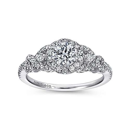 14K White Gold Round Three Stone Halo Diamond Engagement Ring