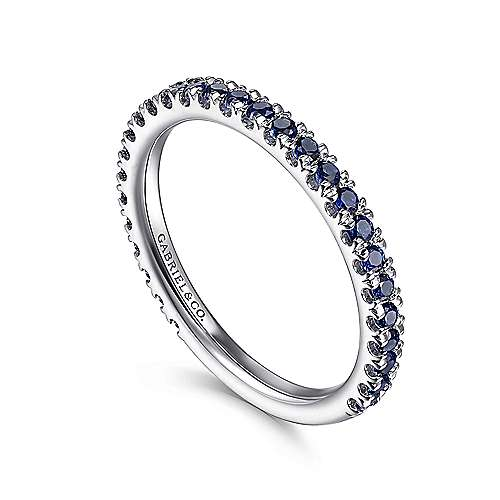 14K White Gold Sapphire Ring angle 3