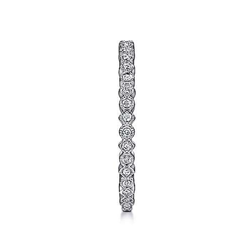 14K White Gold Scalloped Stackable Diamond Band