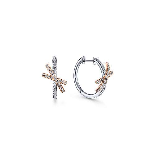 14K White-Pink Gold 15MM Fashion Earrings