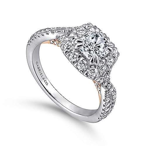 14K White-Pink Gold Diamond Eng Ring angle 3