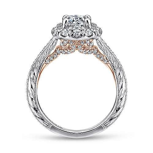 14K White-Pink Gold Diamond Eng Ring angle 2