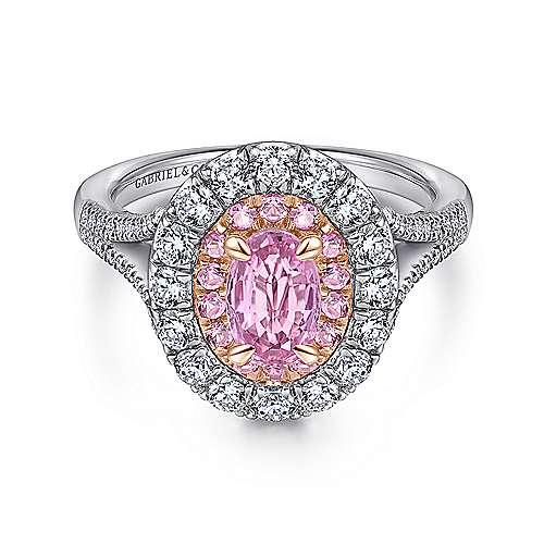 14K White/Rose Gold Diamond Engagement Ring