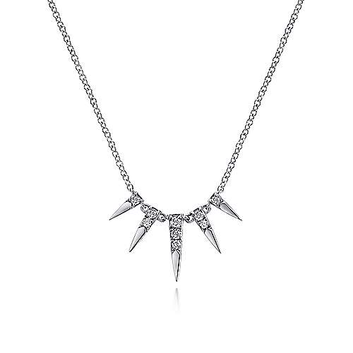 14K Wht Gold Diamond Necklace angle 1