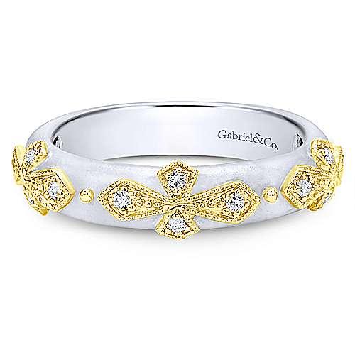 Gabriel - 14k Yellow/white Gold Stackable Ladies' Ring