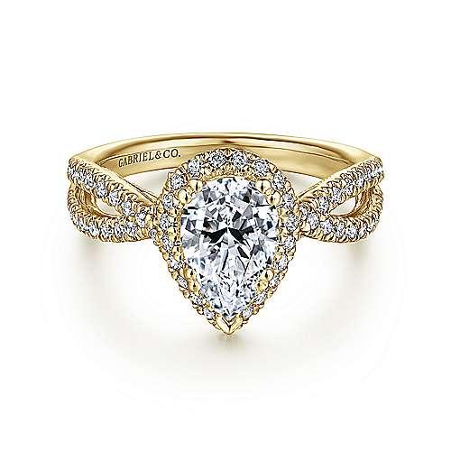14K Y.Gold Dia & Eng Ring