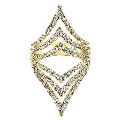 Gabriel - 14k Yellow Gold Lusso Diamond Statement Ladies' Ring