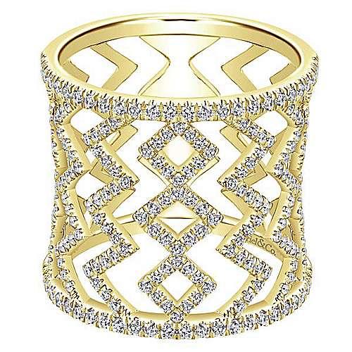 Gabriel - 14k Yellow Gold Art Moderne Wide Band Ladies' Ring