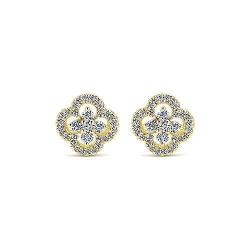 14k Yellow Gold Lusso Diamond Stud