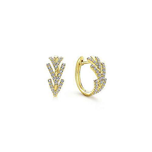 14K Y.Gold Diamond Earring angle 1